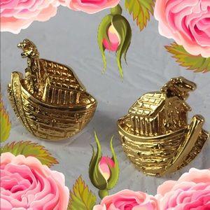 Vintage Premier Designs 80's Noah's Ark Gold Studs